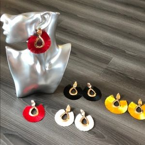 Set of 4 gold fringe earrings